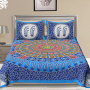 Jaipuri Traditional Printed Cotton Bed Sheet with 2 pillow cases