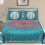 Jaipuri Traditional Printed Cotton Turquoise Bed Sheet with 2 pillow cases