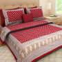 Rajasthani Traditional Cotton Printed Bed Sheet with 2 pillow cases